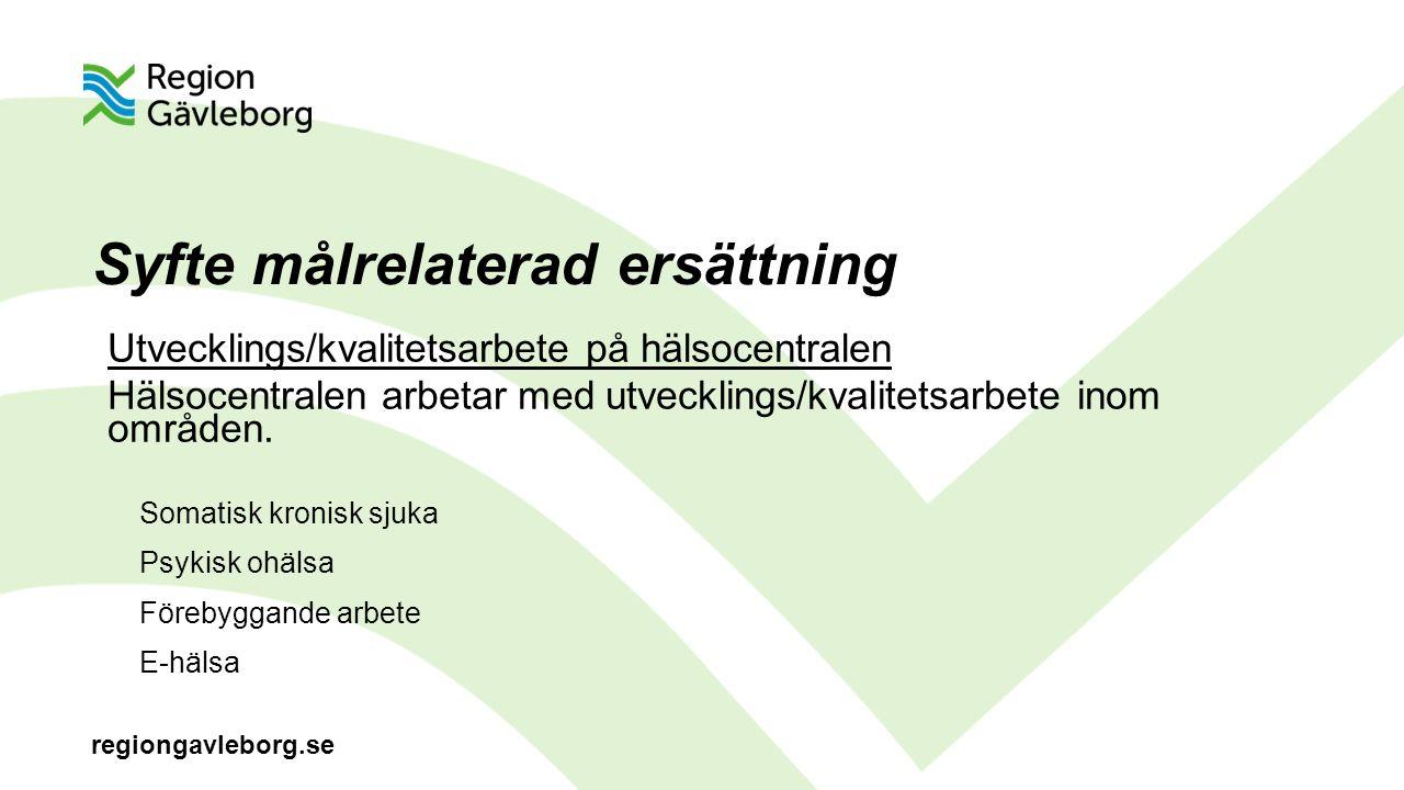 regiongavleborg.se Syfte målrelaterad ersättning Utvecklings/kvalitetsarbete på hälsocentralen Hälsocentralen arbetar med utvecklings/kvalitetsarbete inom områden.