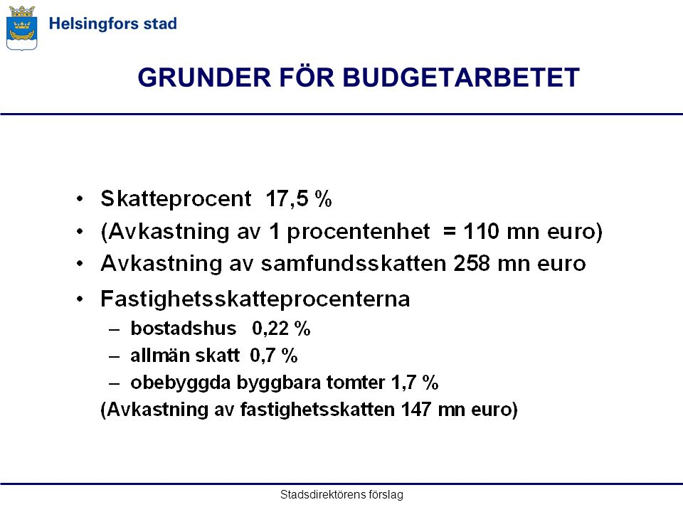 Stadsdirektörens förslag GRUNDER FÖR BUDGETARBETET