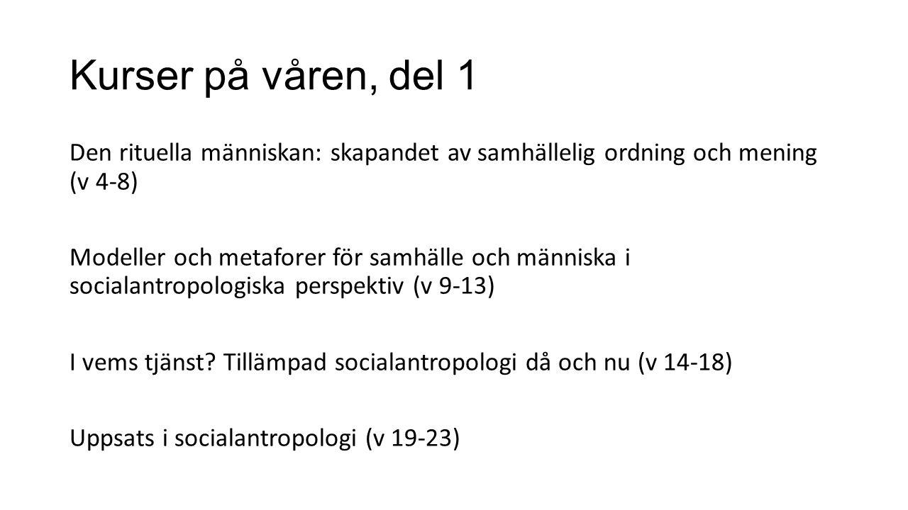 Kurser på våren, del 2 Introduktion till socialantropologi: upptäck andras världar (ges varje termin) (v 4-8) Människans plats på jorden (halvfart) (v 4-13) Att leva på, med eller utan gräns (halvfart) (v 14-23)