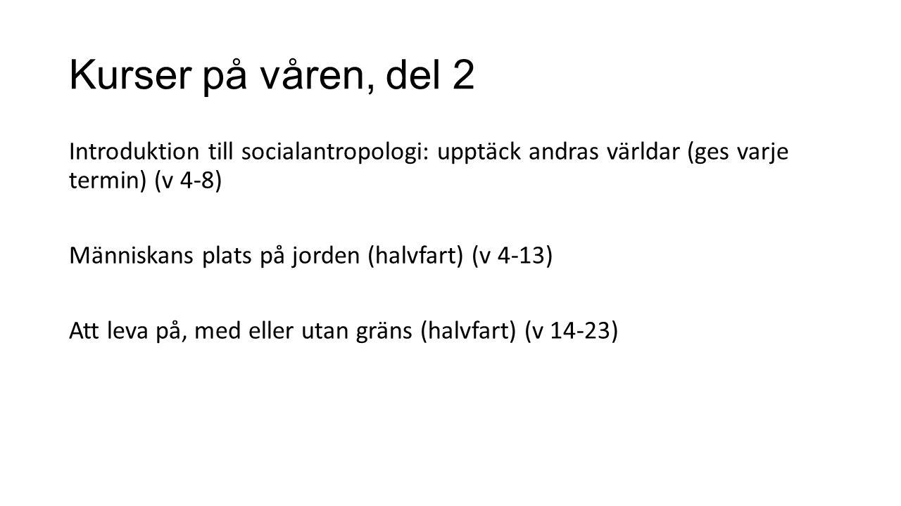 Kurser på våren, del 2 Introduktion till socialantropologi: upptäck andras världar (ges varje termin) (v 4-8) Människans plats på jorden (halvfart) (v