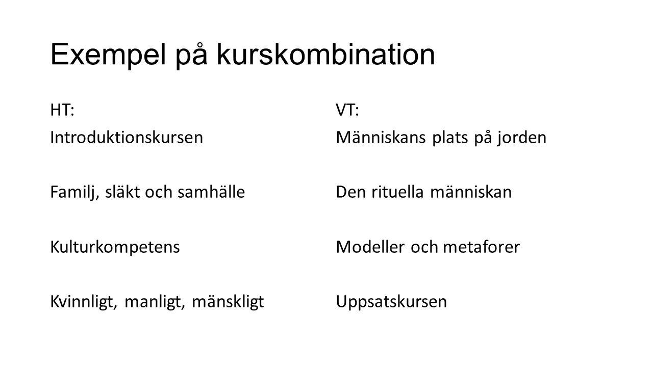 Exempel på kurskombination HT: Introduktionskursen Familj, släkt och samhälle Kulturkompetens Kvinnligt, manligt, mänskligt VT: Människans plats på jo