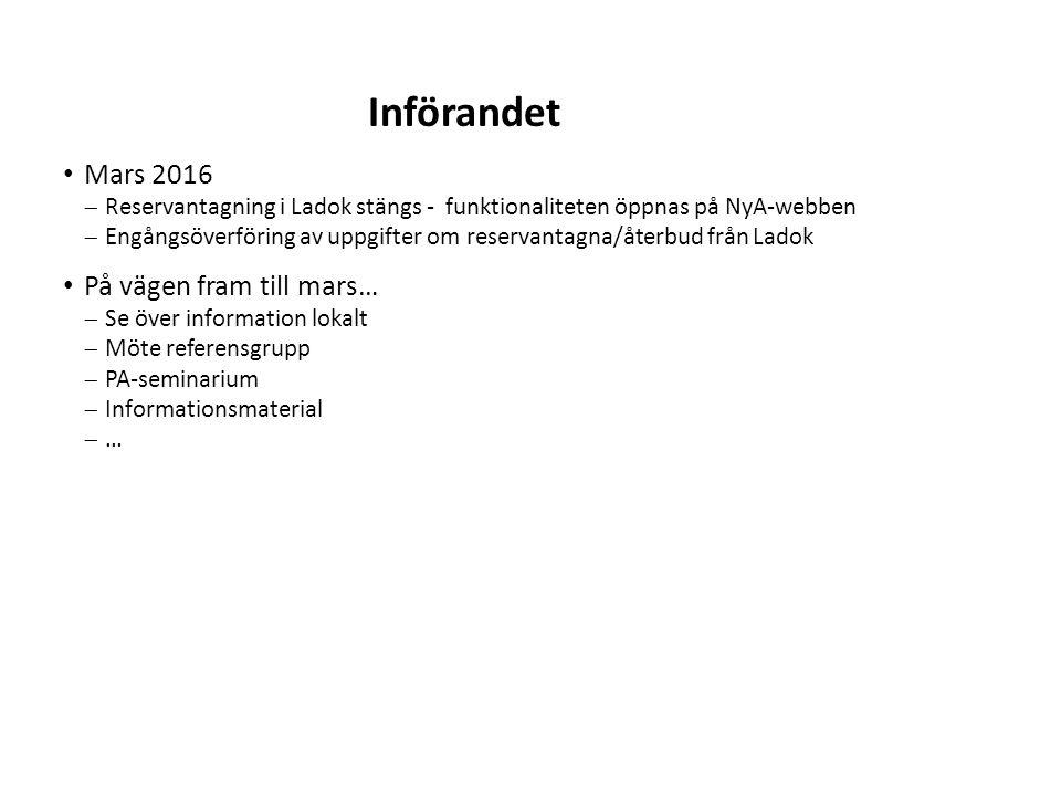 Sv Mars 2016  Reservantagning i Ladok stängs - funktionaliteten öppnas på NyA-webben  Engångsöverföring av uppgifter om reservantagna/återbud från L