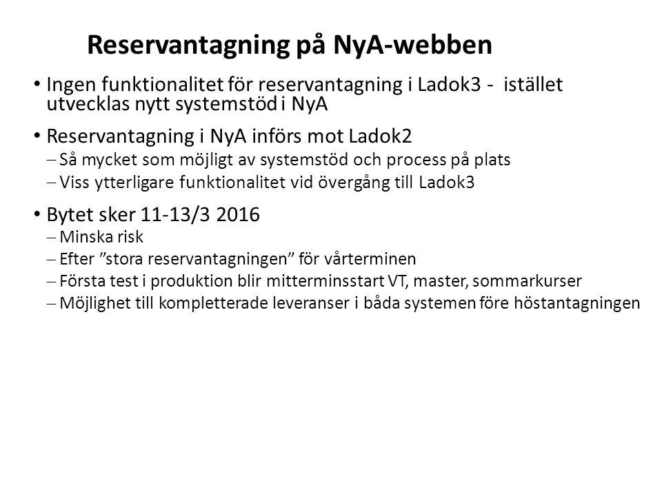 Sv Reservantagning på NyA-webben Ingen funktionalitet för reservantagning i Ladok3 - istället utvecklas nytt systemstöd i NyA Reservantagning i NyA in