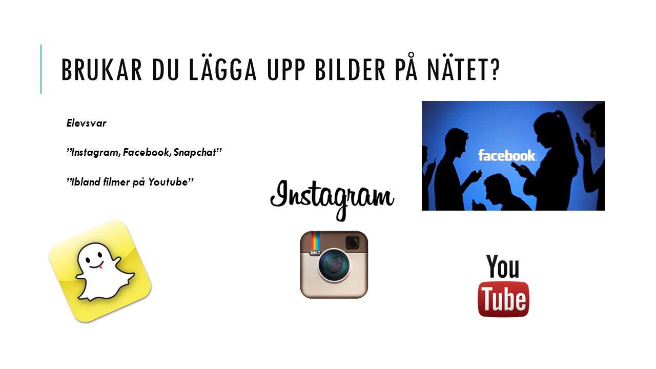 """BRUKAR DU LÄGGA UPP BILDER PÅ NÄTET? Elevsvar """"Instagram, Facebook, Snapchat"""" """"Ibland filmer på Youtube"""""""