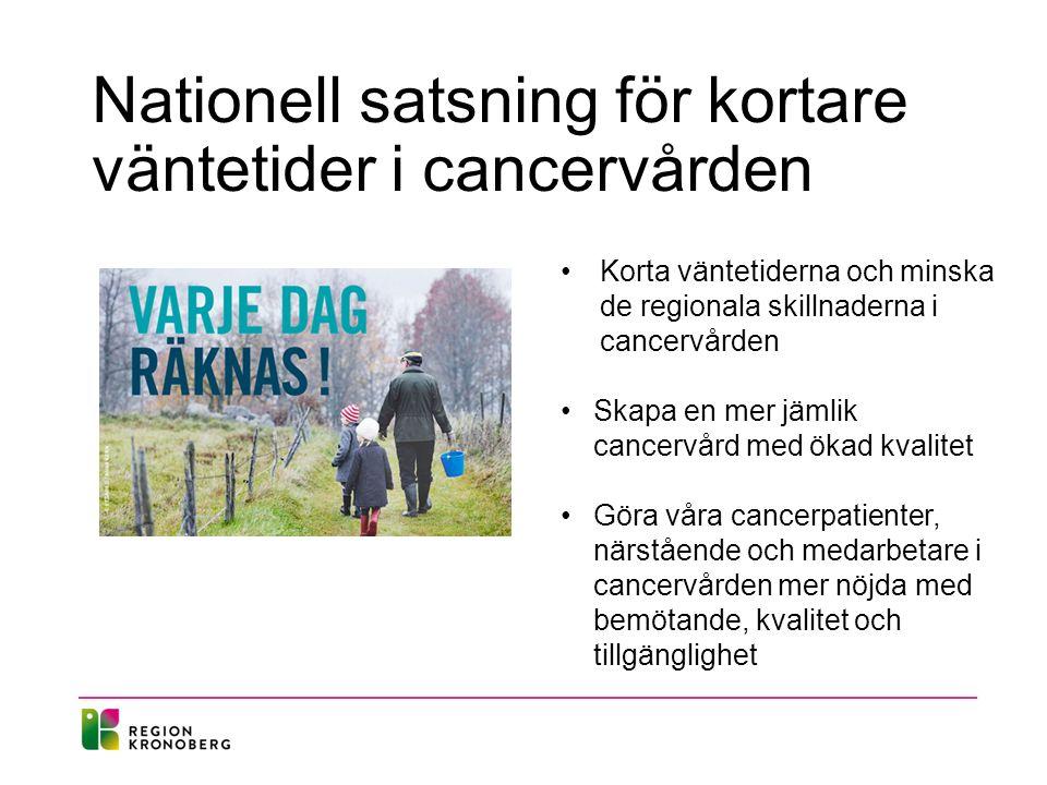 Nationell satsning för kortare väntetider i cancervården Korta väntetiderna och minska de regionala skillnaderna i cancervården Skapa en mer jämlik cancervård med ökad kvalitet Göra våra cancerpatienter, närstående och medarbetare i cancervården mer nöjda med bemötande, kvalitet och tillgänglighet