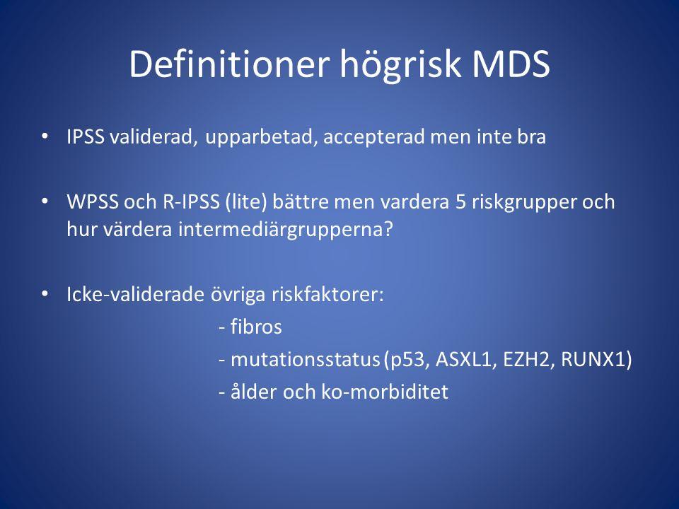 Definitioner högrisk MDS IPSS validerad, upparbetad, accepterad men inte bra WPSS och R-IPSS (lite) bättre men vardera 5 riskgrupper och hur värdera i