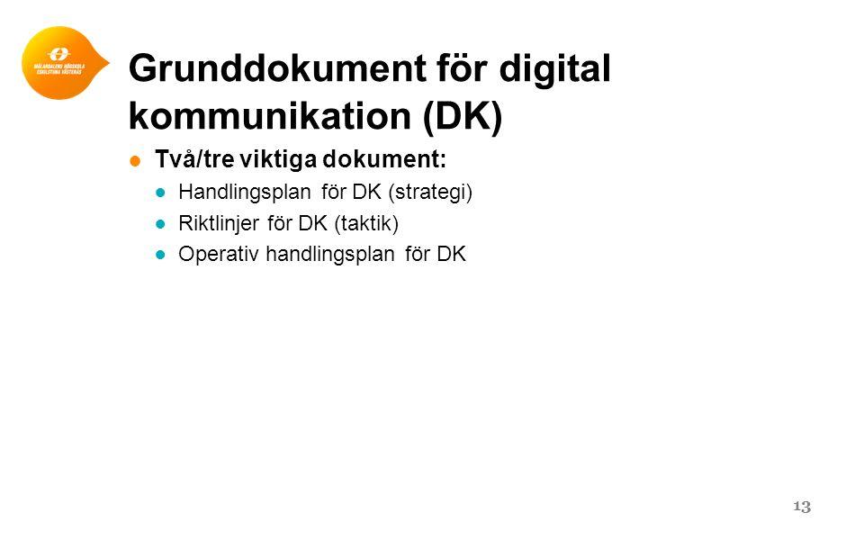 Grunddokument för digital kommunikation (DK) ● Två/tre viktiga dokument: ● Handlingsplan för DK (strategi) ● Riktlinjer för DK (taktik) ● Operativ handlingsplan för DK 13