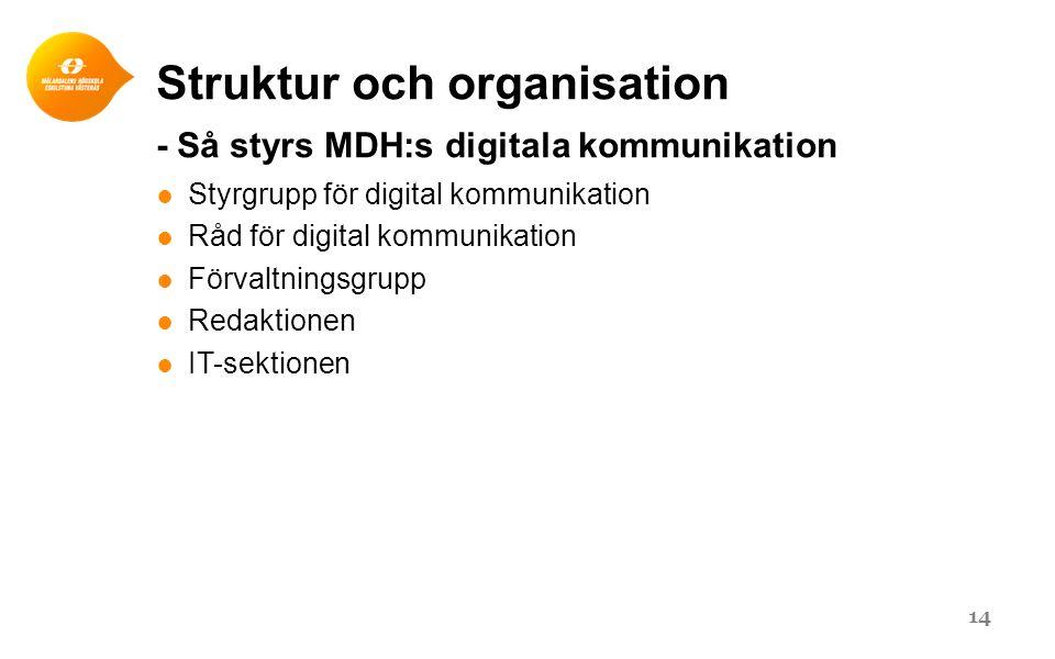Struktur och organisation - Så styrs MDH:s digitala kommunikation ● Styrgrupp för digital kommunikation ● Råd för digital kommunikation ● Förvaltningsgrupp ● Redaktionen ● IT-sektionen 14