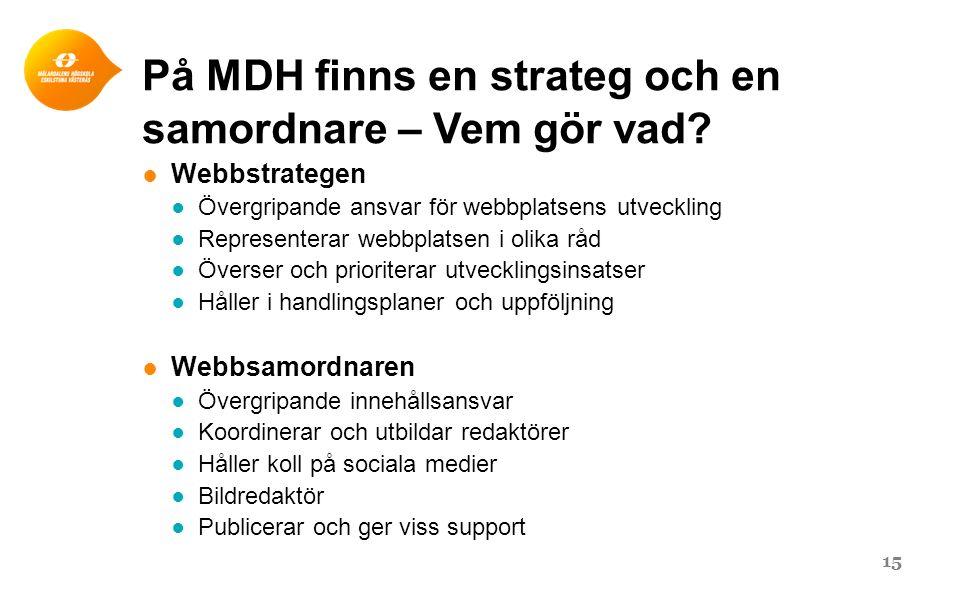 På MDH finns en strateg och en samordnare – Vem gör vad? ● Webbstrategen ● Övergripande ansvar för webbplatsens utveckling ● Representerar webbplatsen