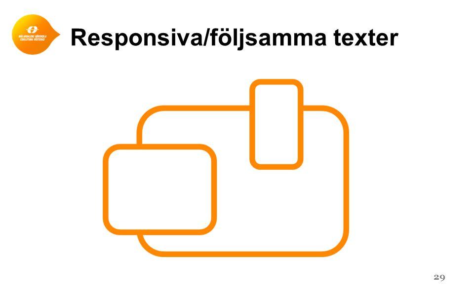 Responsiva/följsamma texter 29
