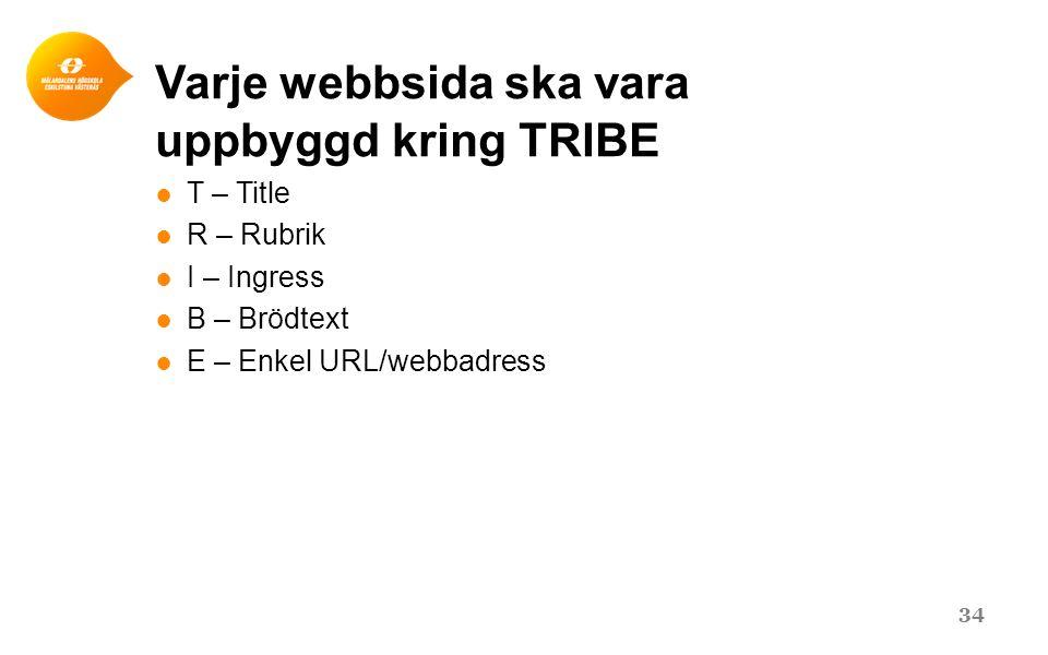 Varje webbsida ska vara uppbyggd kring TRIBE ● T – Title ● R – Rubrik ● I – Ingress ● B – Brödtext ● E – Enkel URL/webbadress 34