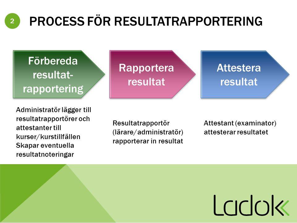 3 BEHÖRIGHETER I RESULTATHANTERING Resultat – Läsa Endast titt-behörighet Resultat – Administratör Administrera Resultatrapportörer/Attestanter, Administrera Resultatnotering, Rapportera Resultat – Resultatrapportör Administrera Resultatnotering, Rapportera Resultat – Examinator/attestant Administrera Resultatnotering, Rapportera, Attestera Resultat – Skriva lokalt All behörighet för Resultat Resultat – Verifikatadministratör Administrera – Resultatverifikat