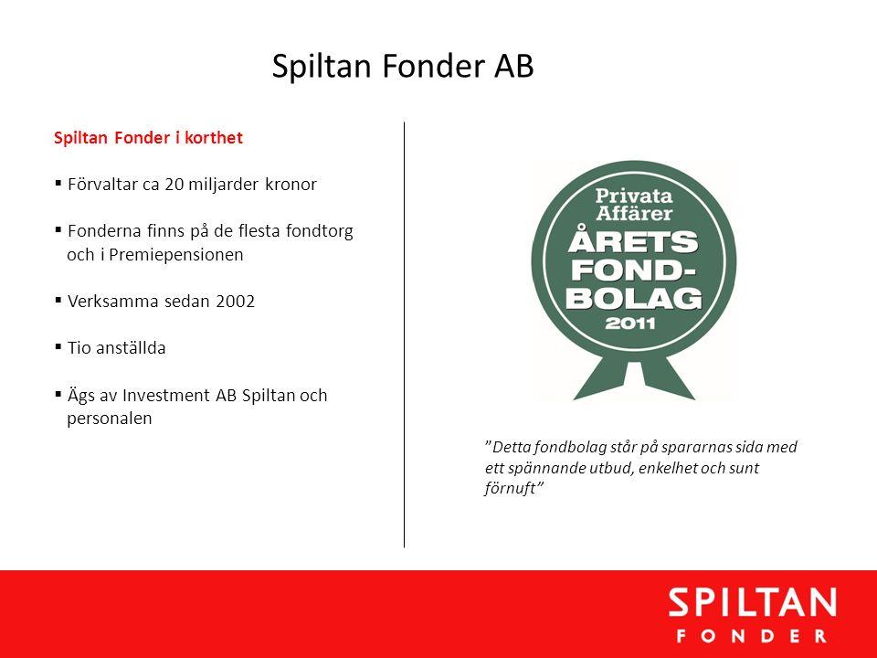 Spiltan Fonder AB Spiltan Fonder i korthet  Förvaltar ca 20 miljarder kronor  Fonderna finns på de flesta fondtorg och i Premiepensionen  Verksamma