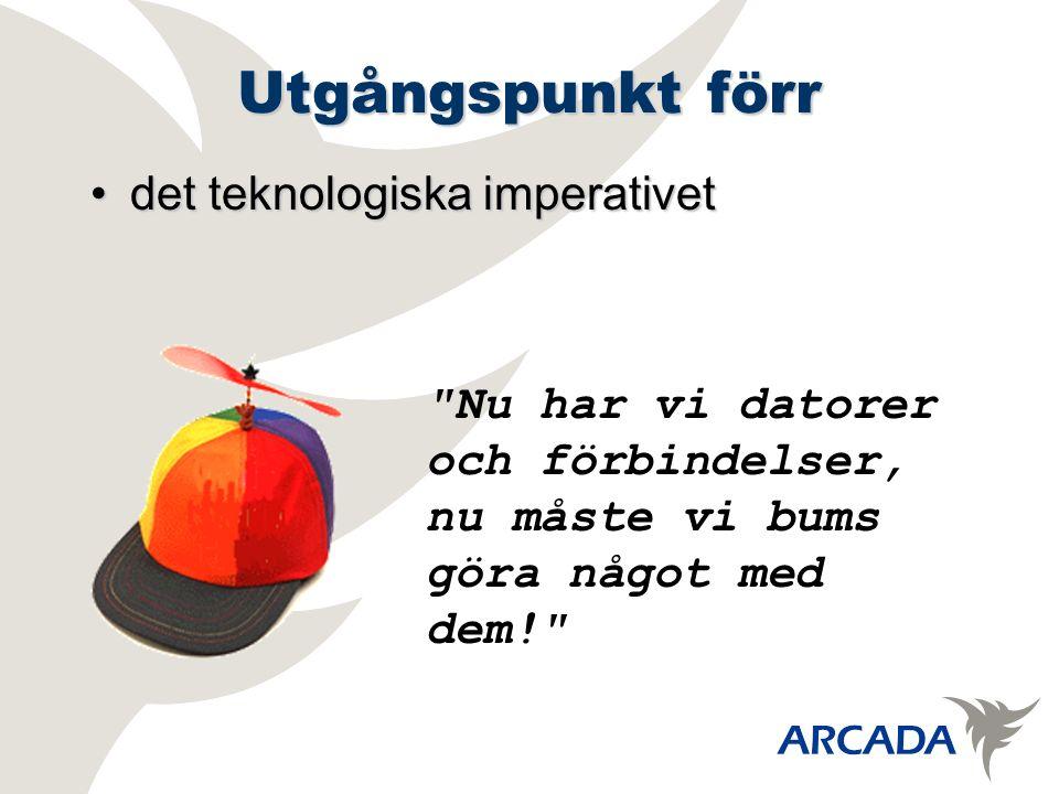 Utgångspunkt förr det teknologiska imperativetdet teknologiska imperativet Nu har vi datorer och förbindelser, nu måste vi bums göra något med dem!