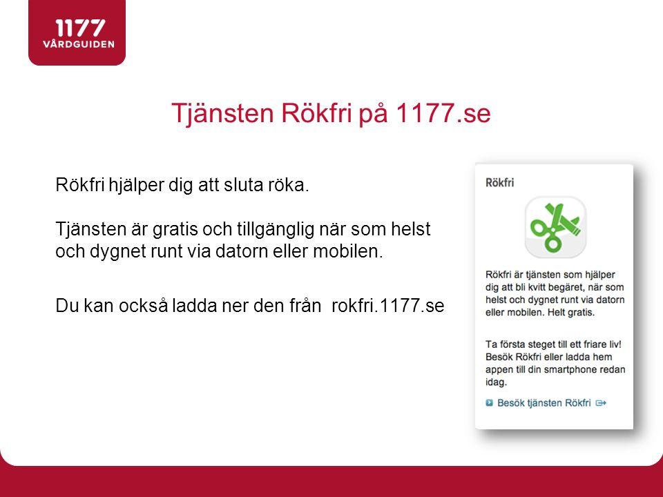 Tjänsten Rökfri på 1177.se Rökfri hjälper dig att sluta röka. Tjänsten är gratis och tillgänglig när som helst och dygnet runt via datorn eller mobile
