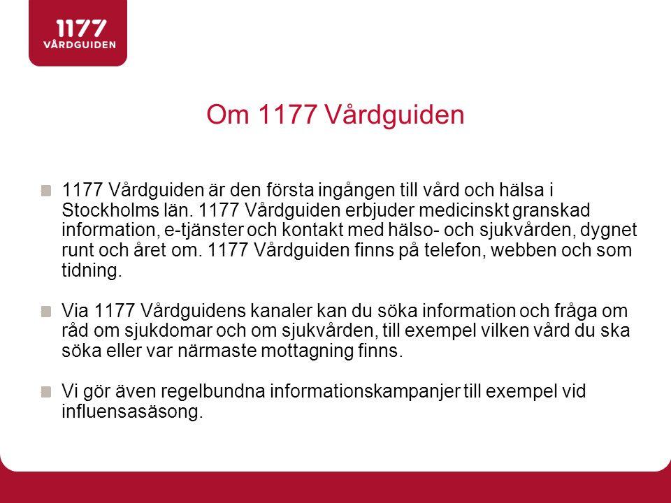 Om 1177 Vårdguiden 1177 Vårdguiden är den första ingången till vård och hälsa i Stockholms län. 1177 Vårdguiden erbjuder medicinskt granskad informati