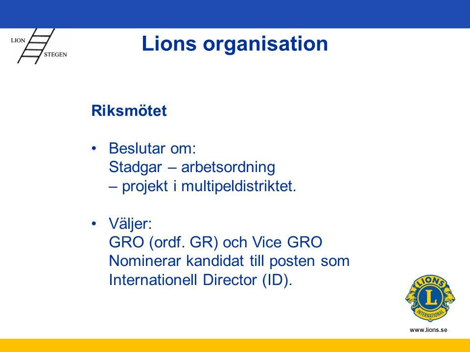 www.lions.se Riksmötet Beslutar om: Stadgar – arbetsordning – projekt i multipeldistriktet. Väljer: GRO (ordf. GR) och Vice GRO Nominerar kandidat til