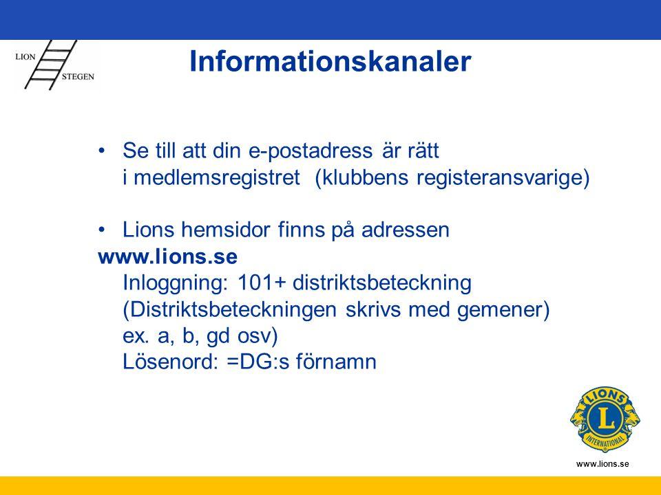 www.lions.se Informationskanaler Se till att din e-postadress är rätt i medlemsregistret (klubbens registeransvarige) Lions hemsidor finns på adressen www.lions.se Inloggning: 101+ distriktsbeteckning (Distriktsbeteckningen skrivs med gemener) ex.