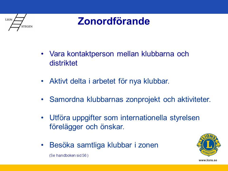 www.lions.se Zonordförande Vara kontaktperson mellan klubbarna och distriktet Aktivt delta i arbetet för nya klubbar.