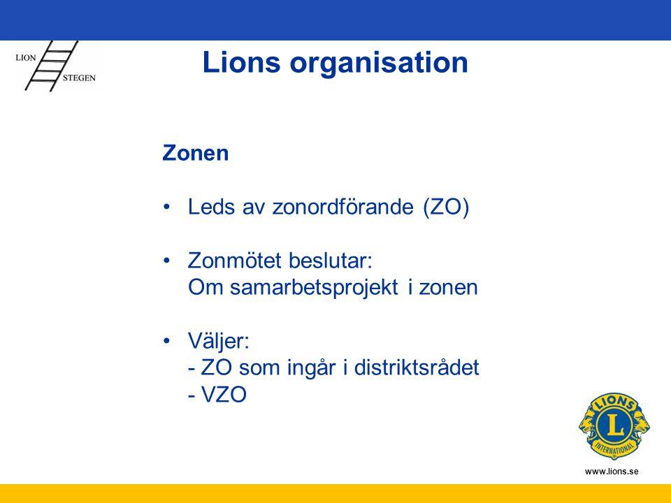 www.lions.se Zonen Leds av zonordförande (ZO) Zonmötet beslutar: Om samarbetsprojekt i zonen Väljer: - ZO som ingår i distriktsrådet - VZO Lions organisation