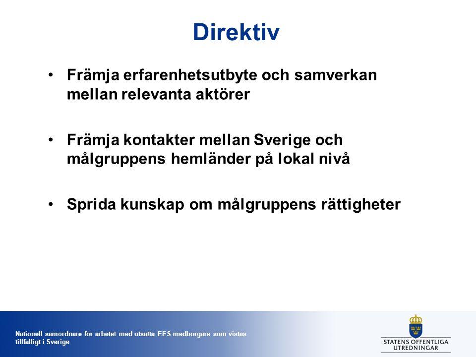 Nationell samordnare för arbetet med utsatta EES-medborgare som vistas tillfälligt i Sverige Halvtid.