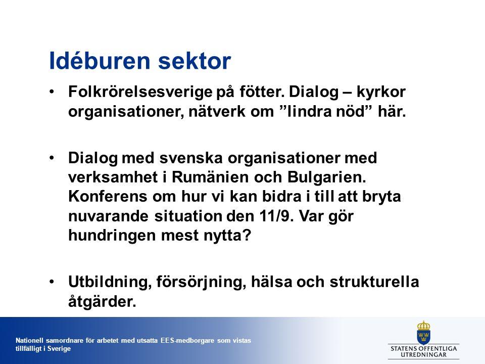 Nationell samordnare för arbetet med utsatta EES-medborgare som vistas tillfälligt i Sverige Idéburen sektor Folkrörelsesverige på fötter.