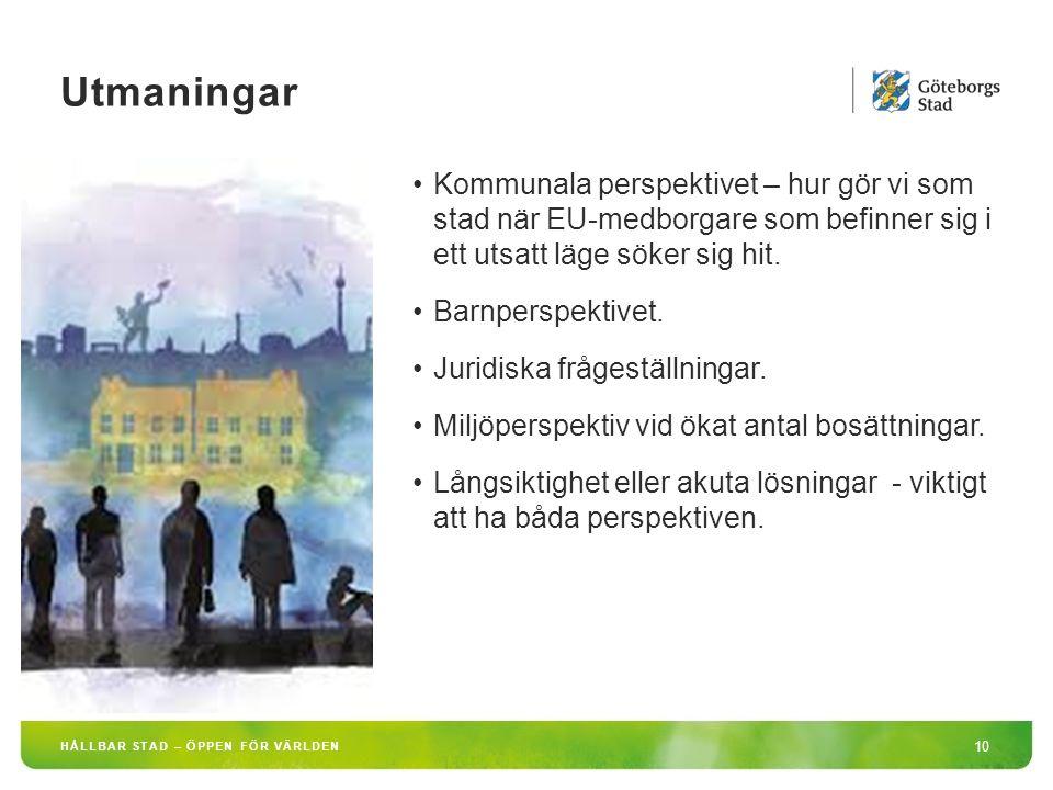 HÅLLBAR STAD – ÖPPEN FÖR VÄRLDEN 10 Kommunala perspektivet – hur gör vi som stad när EU-medborgare som befinner sig i ett utsatt läge söker sig hit.