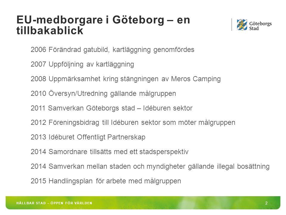 EU-medborgare i Göteborg – en tillbakablick 2 HÅLLBAR STAD – ÖPPEN FÖR VÄRLDEN 2006 Förändrad gatubild, kartläggning genomfördes 2007 Uppföljning av kartläggning 2008 Uppmärksamhet kring stängningen av Meros Camping 2010 Översyn/Utredning gällande målgruppen 2011 Samverkan Göteborgs stad – Idéburen sektor 2012 Föreningsbidrag till Idéburen sektor som möter målgruppen 2013 Idéburet Offentligt Partnerskap 2014 Samordnare tillsätts med ett stadsperspektiv 2014 Samverkan mellan staden och myndigheter gällande illegal bosättning 2015 Handlingsplan för arbete med målgruppen