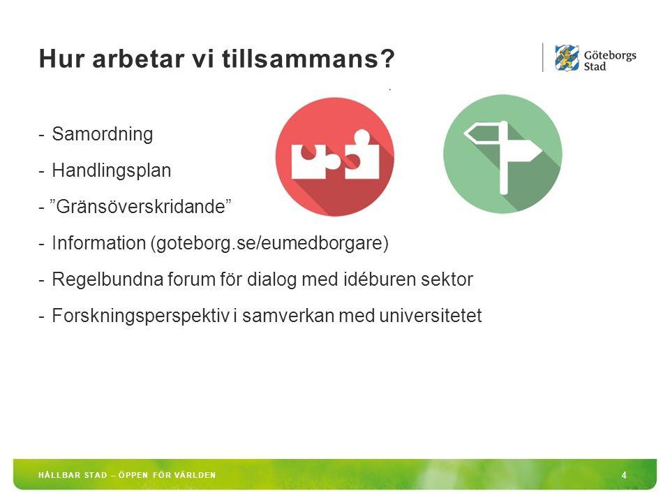 Idéburet Offentligt Partnerskap 5 HÅLLBAR STAD – ÖPPEN FÖR VÄRLDEN Migrerande EU-medborgare söker sig till Göteborg, med en förhoppning om att skapa sig ett bättre liv.