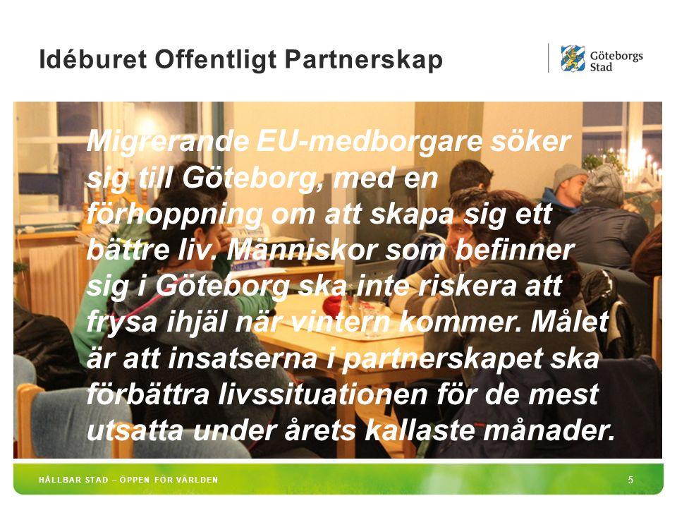 HÅLLBAR STAD – ÖPPEN FÖR VÄRLDEN 6 Göteborg erbjuder idag följande insatser i samverkan med idéburen sektor: -Nattplatser (Bräcke Diakoni) -Dagcentral (Frälsningsarmén) -Öppen förskola (Räddningsmissionen) -Uppsökande verksamhet (Stadsmissionen samt Social Resursförvaltning) -Råd- och stöd riktat mot arbetsmarknad (Crossroads/Stadsmissionen) Idéburet offentligt partnerskap