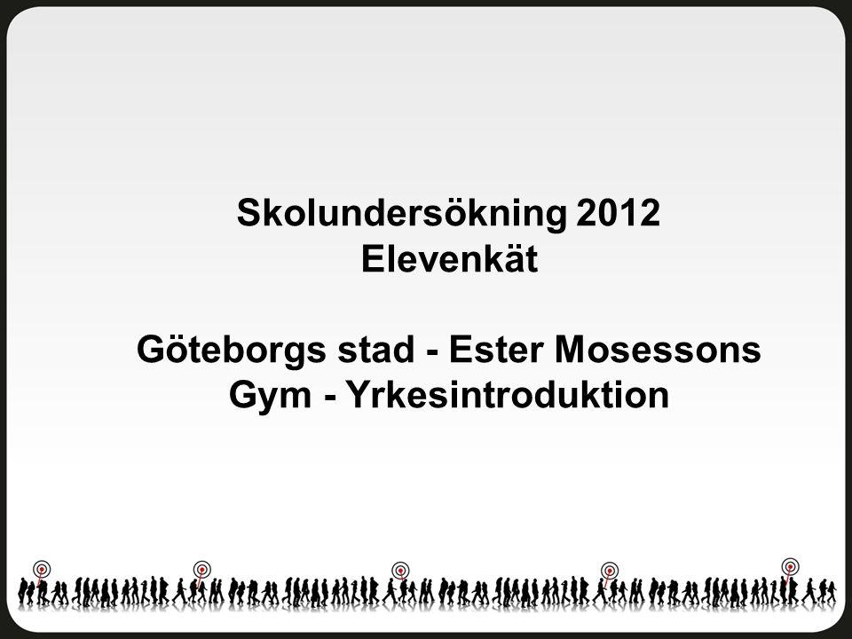 Trivsel och trygghet Göteborgs stad - Ester Mosessons Gym - Yrkesintroduktion Antal svar: 12 av 17 elever Svarsfrekvens: 71 procent