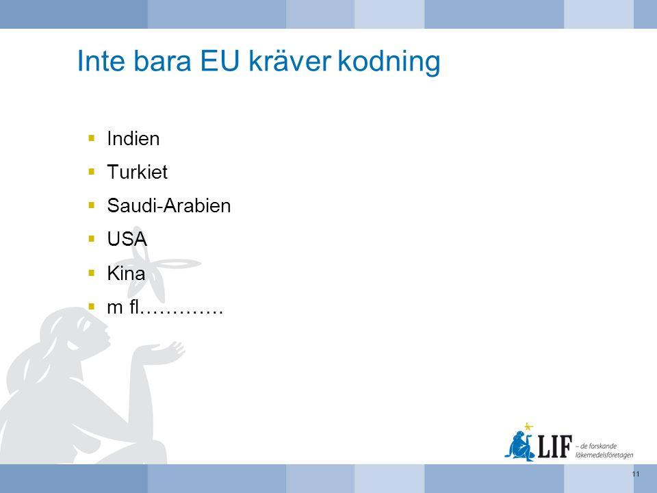 Inte bara EU kräver kodning  Indien  Turkiet  Saudi-Arabien  USA  Kina  m fl…………. 11