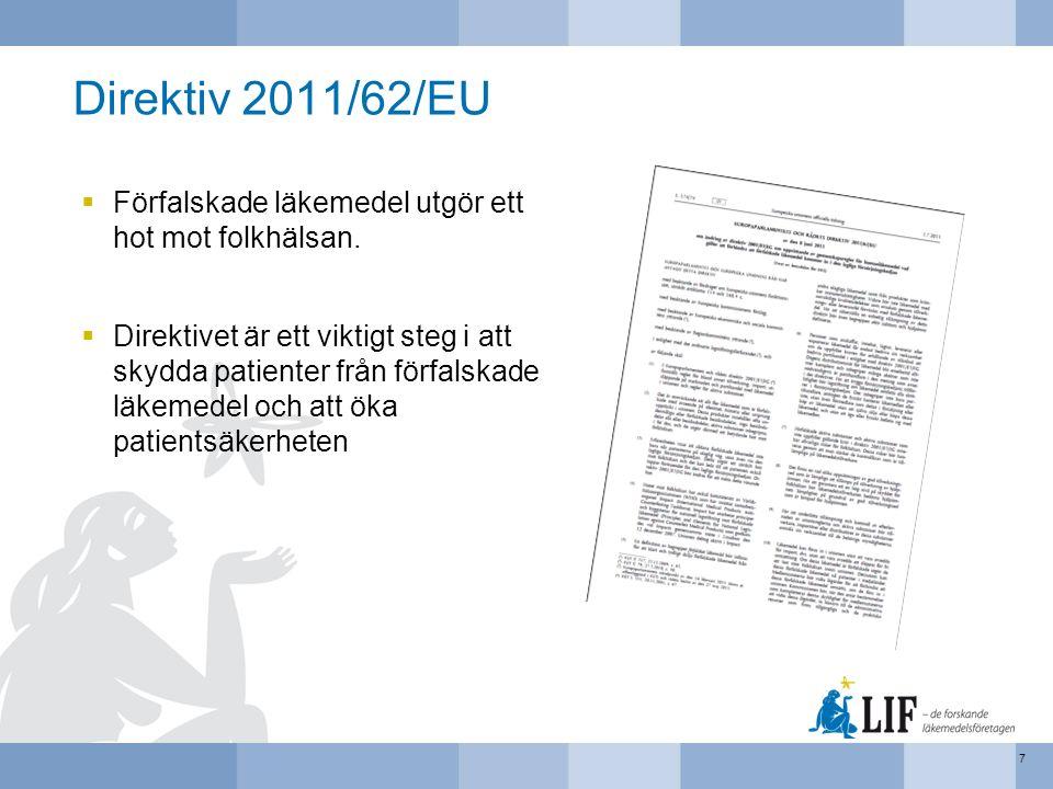 Direktiv 2011/62/EU  Förfalskade läkemedel utgör ett hot mot folkhälsan.  Direktivet är ett viktigt steg i att skydda patienter från förfalskade läk