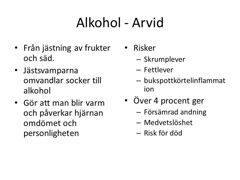 Alkohol - Arvid Från jästning av frukter och säd. Jästsvamparna omvandlar socker till alkohol Gör att man blir varm och påverkar hjärnan omdömet och p