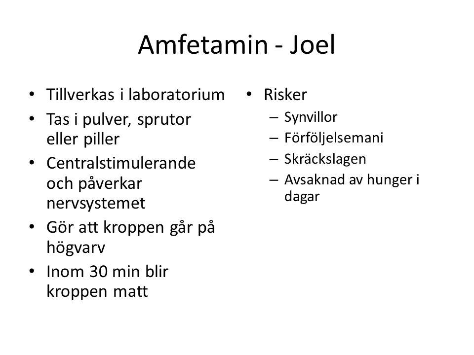 Amfetamin - Joel Tillverkas i laboratorium Tas i pulver, sprutor eller piller Centralstimulerande och påverkar nervsystemet Gör att kroppen går på hög