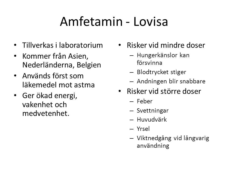 Amfetamin - Lovisa Tillverkas i laboratorium Kommer från Asien, Nederländerna, Belgien Används först som läkemedel mot astma Ger ökad energi, vakenhet