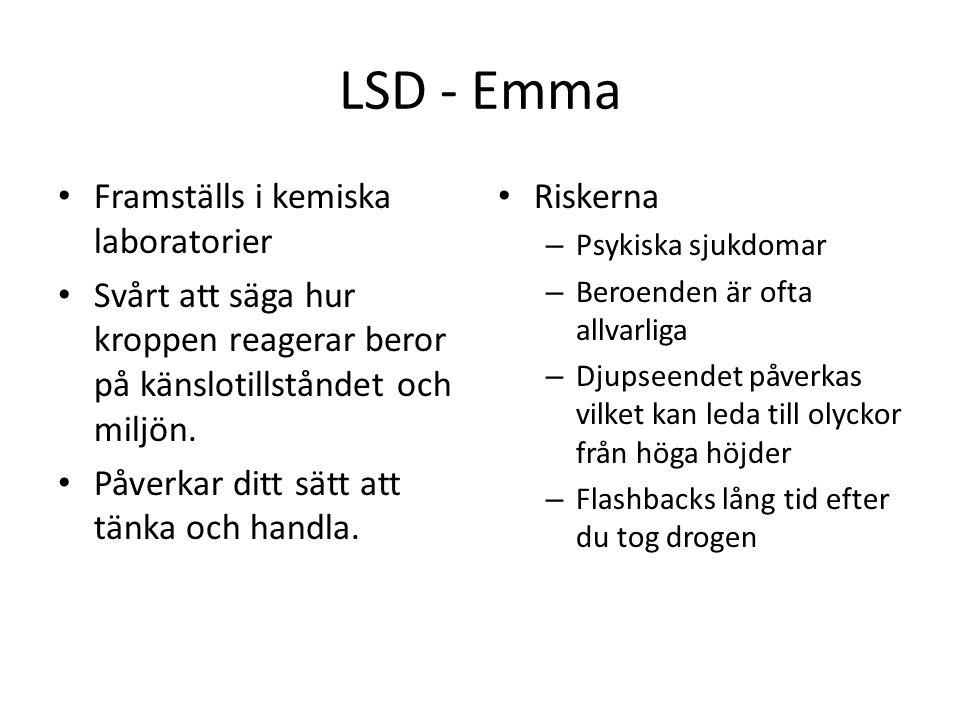 LSD - Emma Framställs i kemiska laboratorier Svårt att säga hur kroppen reagerar beror på känslotillståndet och miljön. Påverkar ditt sätt att tänka o
