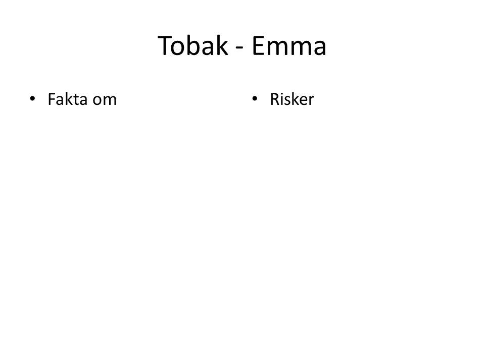 Tobak - Emma Fakta om Risker