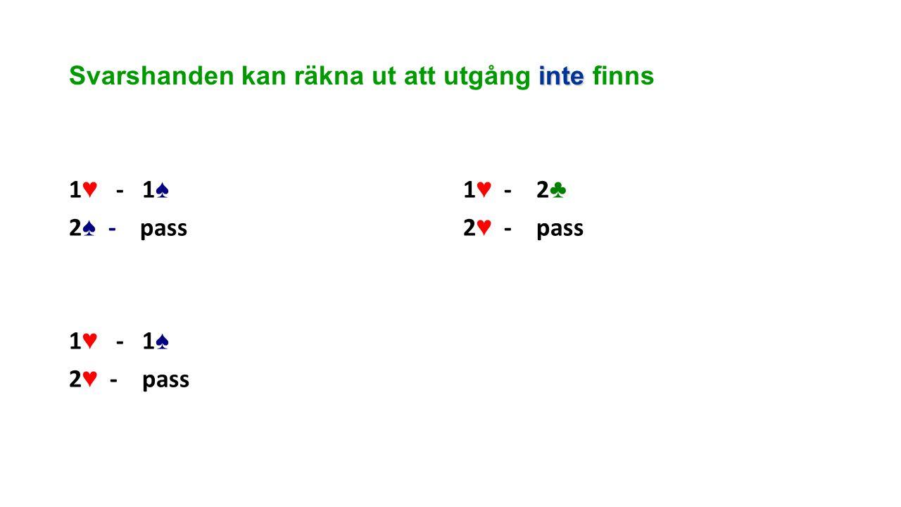 inte Svarshanden kan räkna ut att utgång inte finns 1 ♥ - 1 ♠ 2 ♠ - pass 1 ♥ - 1 ♠ 2 ♥ - pass 1 ♥ - 2 ♣ 2 ♥ - pass