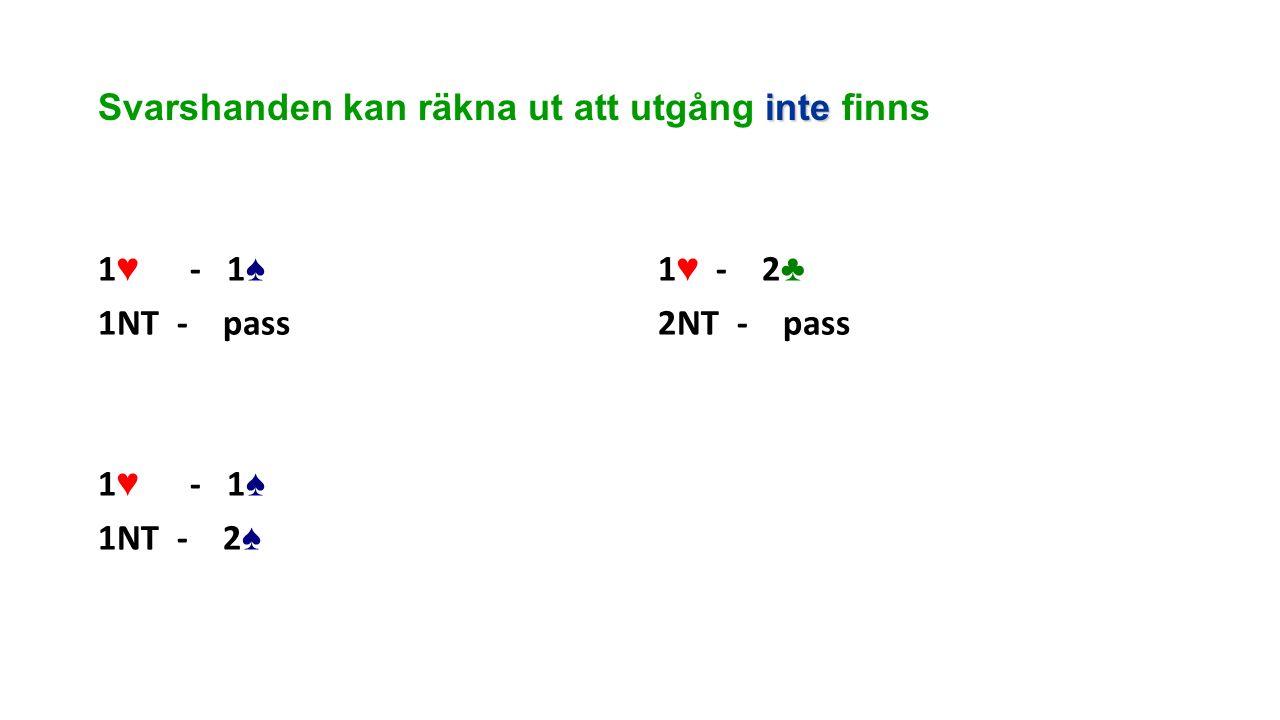 inte Svarshanden kan räkna ut att utgång inte finns 1 ♥ - 1 ♠ 1NT - pass 1 ♥ - 1 ♠ 1NT - 2 ♠ 1 ♥ - 2 ♣ 2NT - pass