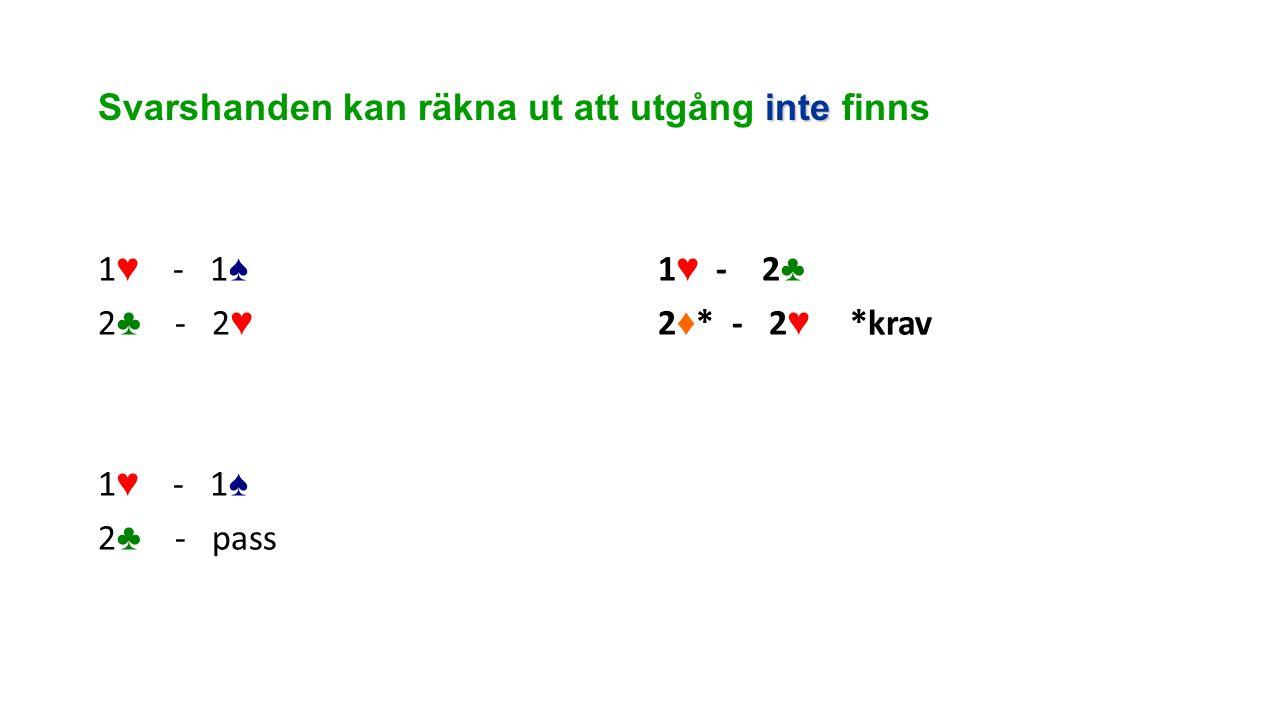 inte Svarshanden kan räkna ut att utgång inte finns 1 ♥ - 1 ♠ 2 ♣ - 2 ♥ 1 ♥ - 1 ♠ 2 ♣ - pass 1 ♥ - 2 ♣ 2 ♦ * - 2 ♥ *krav