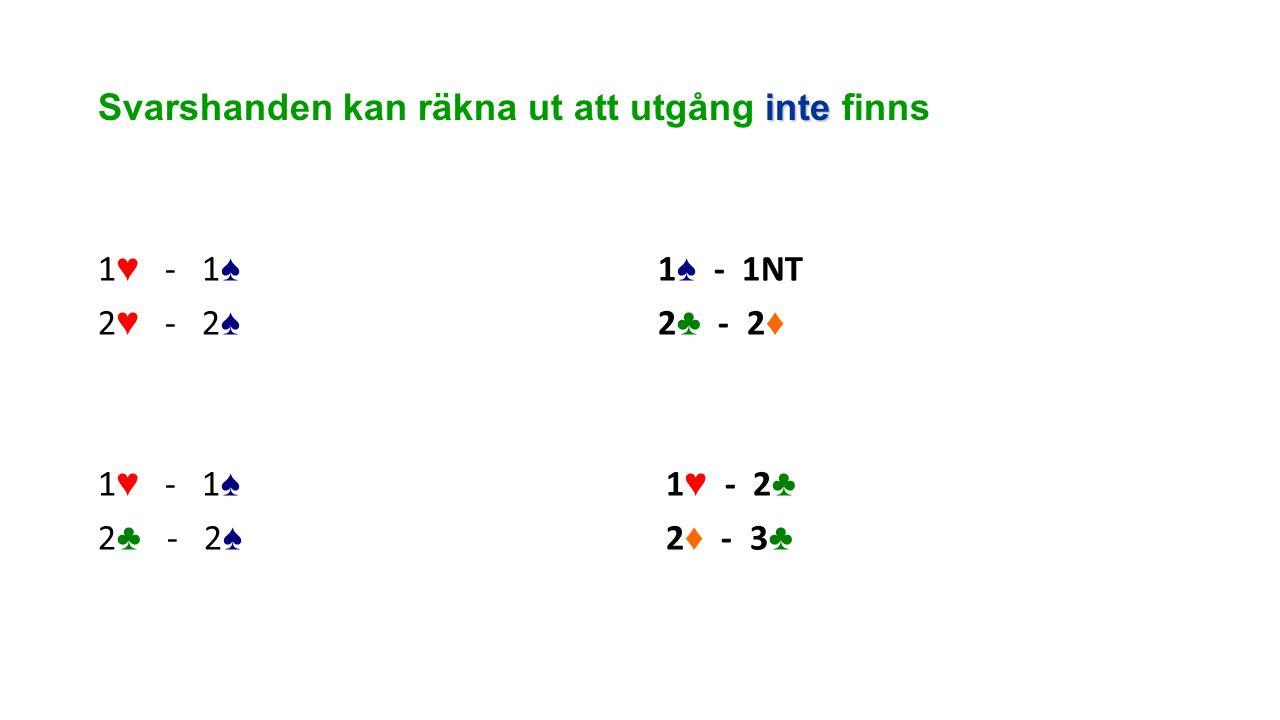 inte Svarshanden kan räkna ut att utgång inte finns 1 ♥ - 1 ♠ 2 ♥ - 2 ♠ 1 ♥ - 1 ♠ 2 ♣ - 2 ♠ 1 ♠ - 1NT 2 ♣ - 2 ♦ 1 ♥ - 2 ♣ 2 ♦ - 3 ♣