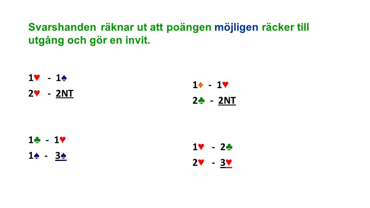 Svarshanden räknar ut att poängen möjligen räcker till utgång och gör en invit. 1 ♥ - 1 ♠ 2 ♥ - 2NT 1 ♣ - 1 ♥ 1 ♠ - 3 ♠ 1 ♦ - 1 ♥ 2 ♣ - 2NT 1 ♥ - 2 ♣