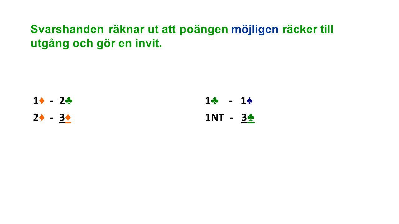 Svarshanden räknar ut att poängen möjligen räcker till utgång och gör en invit. 1 ♦ - 2 ♣ 2 ♦ - 3 ♦ 1 ♣ - 1 ♠ 1NT - 3 ♣