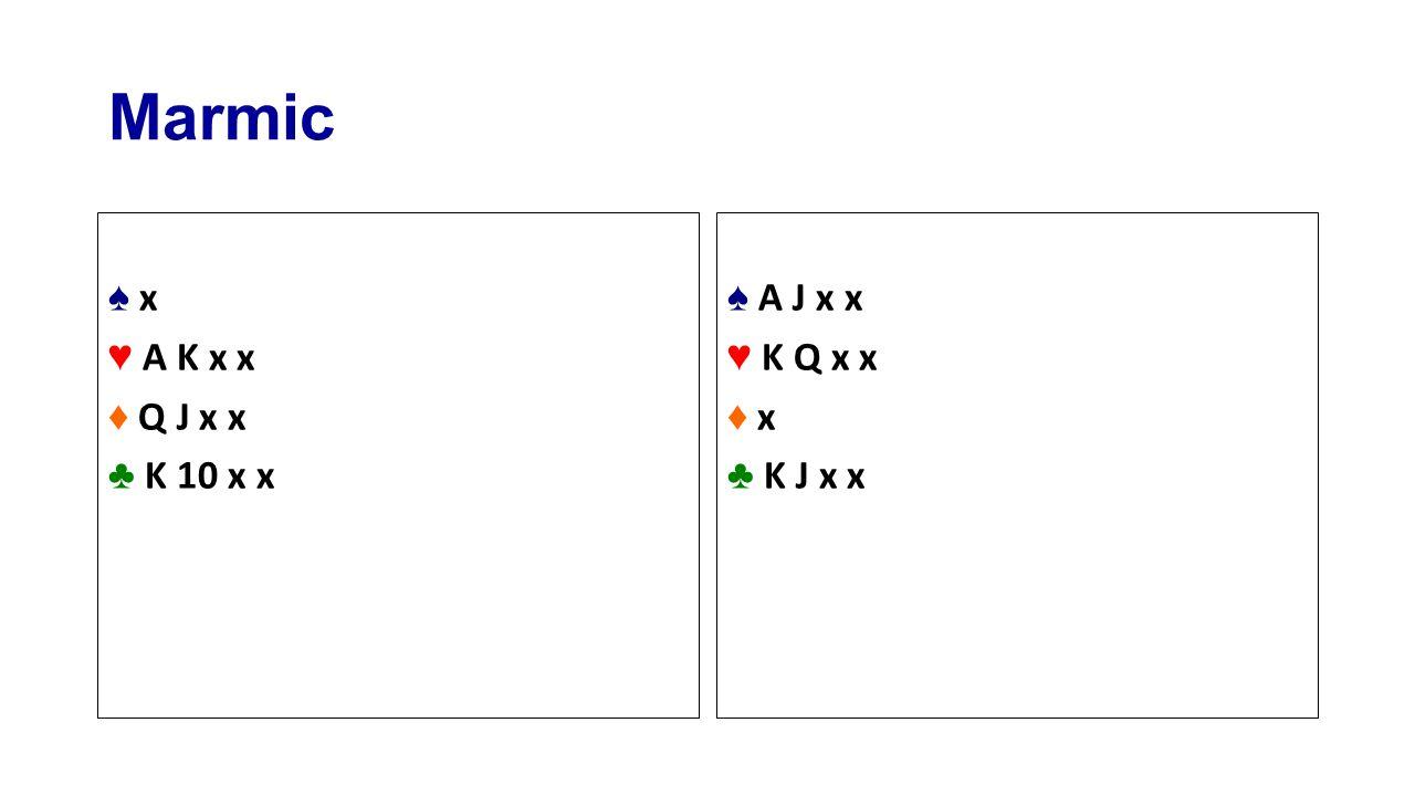 Marmic ♠ x♠ x ♥ A K x x ♦ Q J x x ♣ K 10 x x ♠ A J x x ♥ K Q x x ♦ x♦ x ♣ K J x x