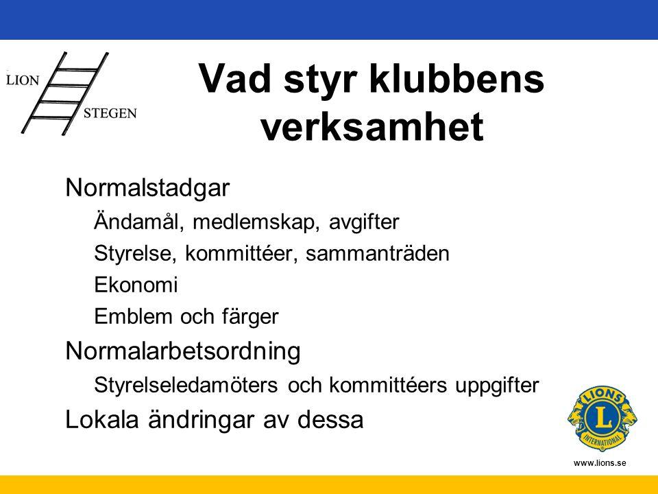 www.lions.se Vad styr klubbens verksamhet Normalstadgar Ändamål, medlemskap, avgifter Styrelse, kommittéer, sammanträden Ekonomi Emblem och färger Normalarbetsordning Styrelseledamöters och kommittéers uppgifter Lokala ändringar av dessa