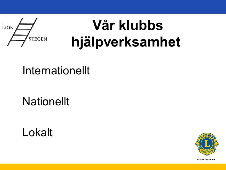 www.lions.se Vår klubbs hjälpverksamhet Internationellt Nationellt Lokalt