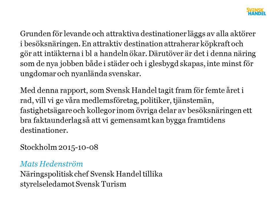 Om utvecklingen fortsätter 2020: 53 mdr Källa: SCB/Tillväxtverket, SCR & HUI Research, 2014, HSVC Prognos Idag: 44 mdr 1,5 gånger högre än detaljhandelns omsättning i Göteborg 2014.