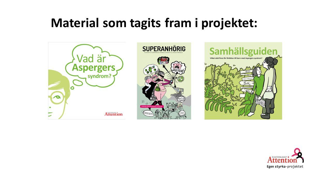 Material som tagits fram i projektet:
