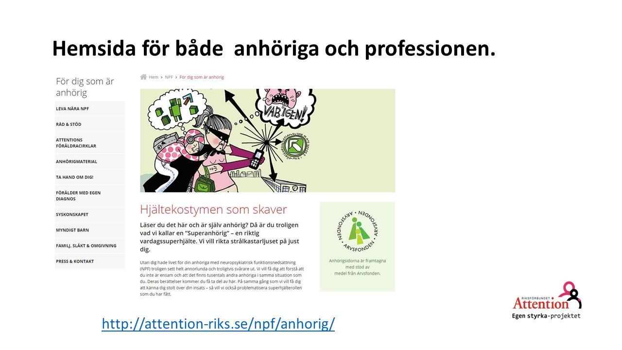 Hemsida för både anhöriga och professionen. http://attention-riks.se/npf/anhorig/